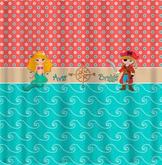 Day At The Beach Shower Curtain Theme With Blonde Mermaid And Pirate