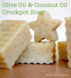 This is a super easy & simple hot process (crock pot) homemade soap recipe that uses 2 easy to find oils: Olive Oil & Coconut Oil. This is an all natural soap that you'll be proud to use on yourself & your love ones. #naturalsoaprecipes