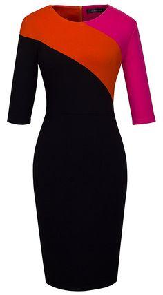 HOMEYEE Women's Elegant Patchwork Half Sleeve Business Bodycon Pencil Dress 449 at Amazon Women's Clothing store: