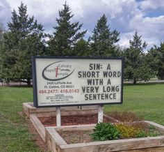 Baptist Church sign board message... Sin: A short word with a very long sentence