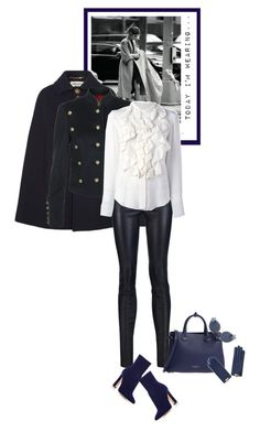 """Today I'm wearing - 16.01.17"" by matilda66 ❤ liked on Polyvore featuring Yves Saint Laurent, Burberry, Alice + Olivia, Chloé, Gianvito Rossi, Fendi, military and navyblue"