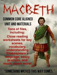 Macbeth unit plan w/ handouts, quizzes, projects and more! More than 100 pages with editable files