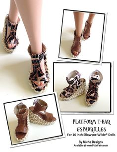 Platform T-Bar Espadrilles For Ellowyne Dolls