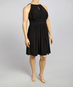 Another great find on #zulily! Black Beaded Ruched Sleeveless Dress - Plus #zulilyfinds