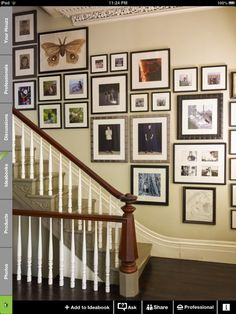Love the photo wall idea up the stair case