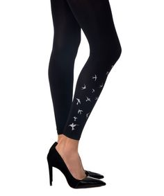 Look at this Black & White Birds Footless Tights on #zulily today!