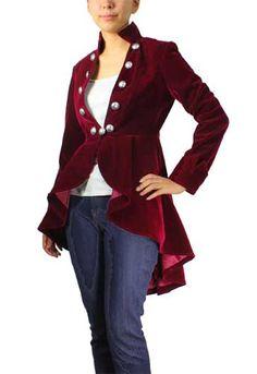 f61757f120f Burgundy Plus-size Flocking Velvet Asymmetry Jacket