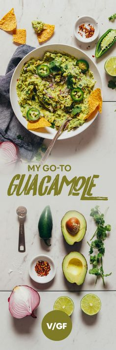 PERFECT Guacamole every time with just 8 ingredients, 1 bowl, and 10 minutes! Mexican Food Recipes, Vegetarian Recipes, Healthy Recipes, Ethnic Recipes, Baker Recipes, Cooking Recipes, Cilantro, Guacamole Recipe, Healthy Snacks