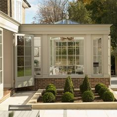 Garden room sunroom Modern orangery added to the rear of the kitchen diner on property Orangery Extension Kitchen, Kitchen Orangery, Modern Georgian, Georgian Homes, Georgian Kitchen, Garden Room Extensions, House Extensions, Kitchen Extensions, Modern Conservatory