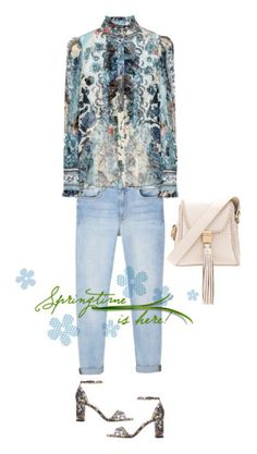"""""""My style"""" by clarissamejia ❤ liked on Polyvore featuring SANCIA, MANGO, Roberto Cavalli, L.K.Bennett, jeans, chiffonblouse, floralsandals and braidedbag"""