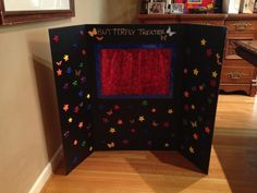Puppet theater from a tri-fold board for Max's class :-)