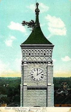 Greensburg Indiana 1907 Decatur Court House Clock Tower Tree Vintage Postcard