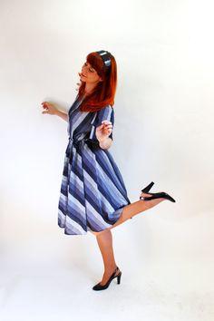 Sale  Gray Stripes Dress Office Fashion Secretary by gogovintage, $28.00