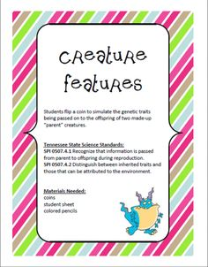 Creature Features - Inherited and Acquired Traits product from cokerfamily6 on TeachersNotebook.com