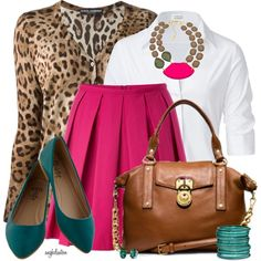 Teal and Fuschia...With Leopard, created by angkclaxton on Polyvore