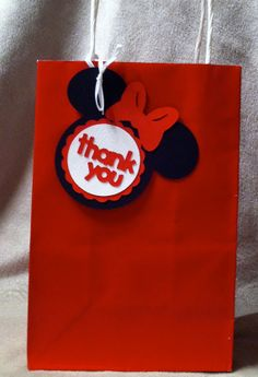 Plain Red Bags with Minnie (or Mickey) Mouse Thank you tags attached. on Etsy, $15.00