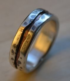 rustic wedding ring fine silver and copper ring by MaggiDesigns