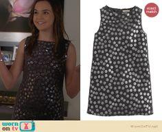 Hillary's metallic polka dot dress on Trophy Wife. Outfit Details: http://wornontv.net/25963 #TrophyWife #fashion