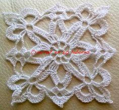 Crochet en 80 labores: Patrón de un aplique blanco de ganchillo