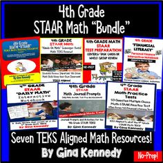 "4th Grade STAAR Math Test-Prep and TEKS Review ""BUNDLE""! Seven 5th grade math resources, aligned to the 4th grade STAAR Texas math TEKS! From task cards, practice tests, mastery checklist, scavenger hunts and much more, this bundle will compliment your regular math curriculum to provide all of the test-prep and review materials you need for your students to be successful on the STAAR math exam.  Print and go math lessons!"