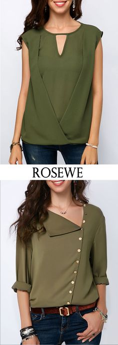 Button Detail Roll Sleeve Army Green Blouse.#Rosewe#summerfashion Only Fashion, Love Fashion, Trendy Fashion, Girl Fashion, Fashion Outfits, Womens Fashion, Trendy Dresses, Trendy Outfits, How To Roll Sleeves