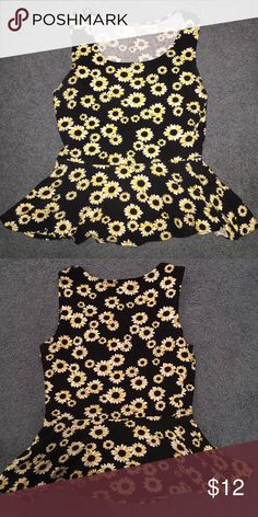 Sunflower Peplum Shirt Super cute sunflower peplum shirt. Soft cotton for a casual stylish look. Tops