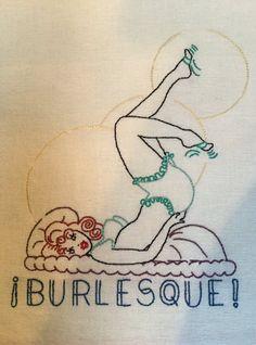 Burlesque Towel by StitchinTimeStudio on Etsy