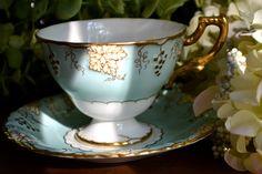 Vintage Royal Crown Derby Fine Bone China Tea Cup and Saucer, Aqua, Vine, Gold Gilt, England.