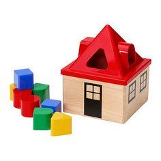 MULA Shape sorter IKEA Helps the child develop fine motor skills and hand/eye co-ordination.