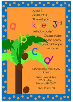 Chicka Chicka Boom Boom Boy's Printable Invitation by aboyslife, $12.99