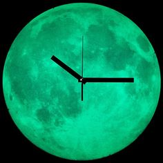 Moon Clock  Catch a glimpse of the night sky from the comfort of your own room with this glow-in-the-dark Moon Clock. The