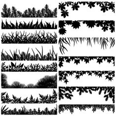 Illustration about Selection of vector borders and foregrounds of various plants and trees. Illustration of edge, graphic, meadow - 2680040 Silhouette Cameo, Silhouette Vector, Fairy Silhouette, Skyline Silhouette, Silhouette Images, Scanncut Cm900, Diy Planner, Bamboo Leaves, Plant Leaves