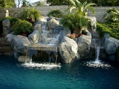 Amazing Exterior House With Best Swimming Pool Also Lavish Stone . Cool Swimming Pools, Swimming Pool Designs, Cool Pools, Backyard Garden Landscape, Backyard Paradise, Beautiful Pools, Best Location, Water Features, Outdoor Living