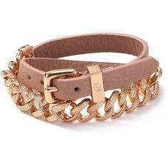 Marc By Marc Jacobs Leather And Chain Double Wrap Bracelet