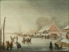 Barent Avercamp, Skating on a Frozen River, about 1650.