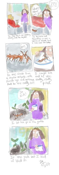 New Millipede Species met with Contrasting Emotions - from my autobiographical web comic. Autobiographical Comics, Replay, Contrast, Garden, Funny, Garten, Lawn And Garden, Gardens, Funny Parenting