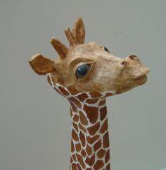 This head is based on a fib (foamed insulated board) skull, with mache modelling and bought eyes. In private collection - Saunders. Paper Mache Projects, Giraffe Head, Sculpture Techniques, Paper Mache Sculpture, Arts And Crafts, Diy Crafts, Number 2, Giraffes, Sculpting