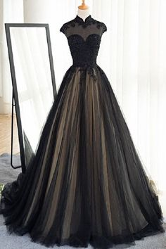 Elegant A-Line Black Tulle Cap Sleeves Long Prom/Evening Dress sold by dressthat. Shop more products from dressthat on Storenvy, the home of independent small businesses all over the world.