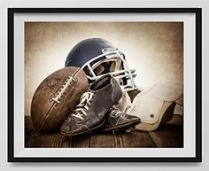 Vintage Football Gear on Vintage Background Fine Art Photography Print, Sports Decor, Football Nursery decor, Vintage Sports Nursery Art, Football artwork, Kids Room Wall Art. ** Check out the image by visiting the link. (Amazon affiliate link)