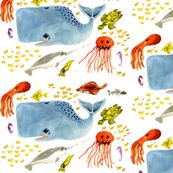 All kinds of sea life fabric. Must get some for D.