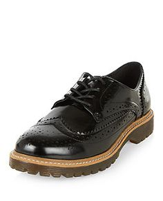 Wide Fit Black Chunky Brogues  | New Look