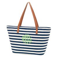 Monogrammed Navy Stripe Charlotte Purse with Bright Green Thread and Master Circle Font