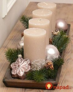 70 Simple And Popular Christmas Decorations; Advent Wreath Candles, Centerpiece Christmas, Christmas Advent Wreath, Christmas Colors, Xmas Decorations, Christmas Themes, Christmas Crafts, Holiday Decor, Christmas Candles