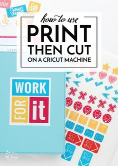 Learn how to use Print Then Cut on a Cricut to make planner stickers, party decor, cards, art and more! Crafts To Make, Diy Crafts, How To Use Cricut, Cricut Tutorials, Vinyl Projects, Cricut Design, Being Used, Planner Stickers, Diy Tutorial