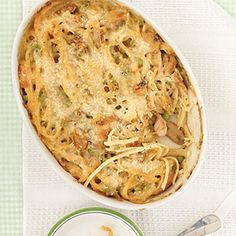 CHICKEN TETRAZZINI:  This freezer-friendly baked pasta recipe features rotisserie chicken and frozen peas for a convenient meal tonight and a leftover to keep for pulling out in a pinch.