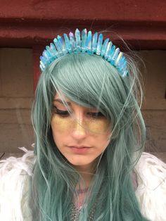 The Oceane [Raw Pastel Blue Crystal Quartz Tiara / Crown], Mermaid Crown