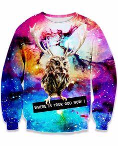 Women Men Fashion Clothing God Owl Galaxy Nebula Space 3D Pirnt Long Crewneck Tops Casual Jumper