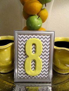 Yellow & Grey Table Numbers with Silver Frame // Chevron Wedding Table Numbers // Grey and Yellow Wedding Decor