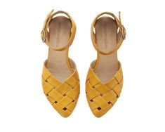 Memorial Day Yellow Braided Handmade Leather Flat Sandals Sophie by Tamar Shalem Leather Sandals Flat, Black Leather Shoes, Flat Sandals, Shoes Sandals, Boho Sandals, Yellow Leather, Women's Flats, Real Leather, Daily Shoes