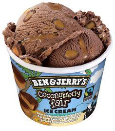 Coconutterly Fair: Chocolate ice cream, coconut caramel swirls and chocolatey covered caramel crunch. Ice Cream Tubs, Ice Cream Day, Ice Cream Desserts, Ice Cream Recipes, Ice Cream Flavors List, Chocolates, Ben Und Jerrys, French Vanilla Creamer, Caramel Crunch